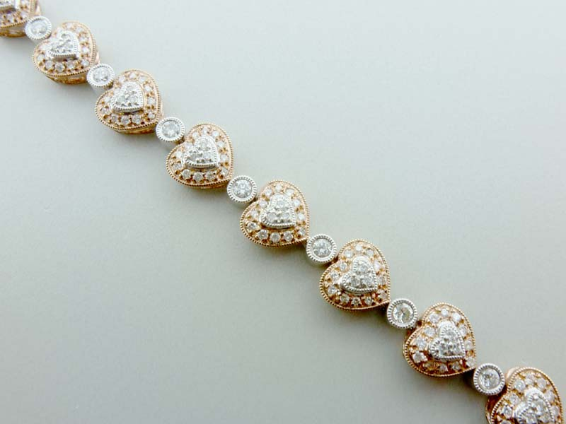 Diamond Heart Pattern Bracelet in 14Kt Rose and White Gold