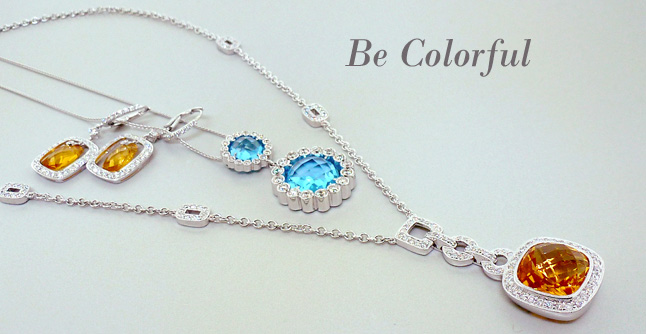 Blue Topaz and Diamond Double Circle Drop Pendant on Chain in 14Kt White Gold